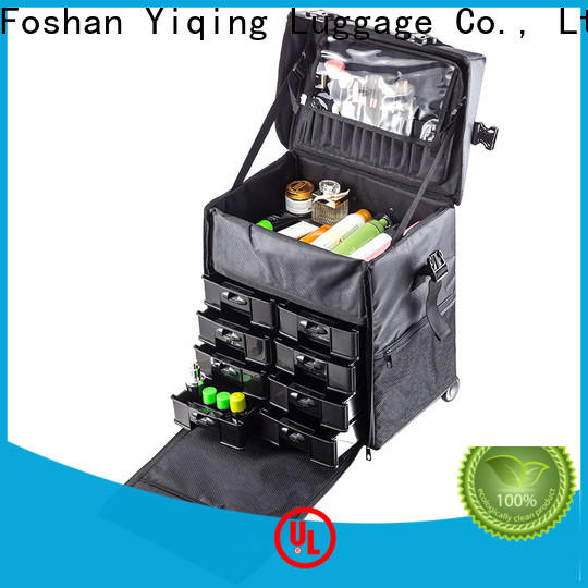 Yiqing Luggage professional makeup trolley case on wheels for travel